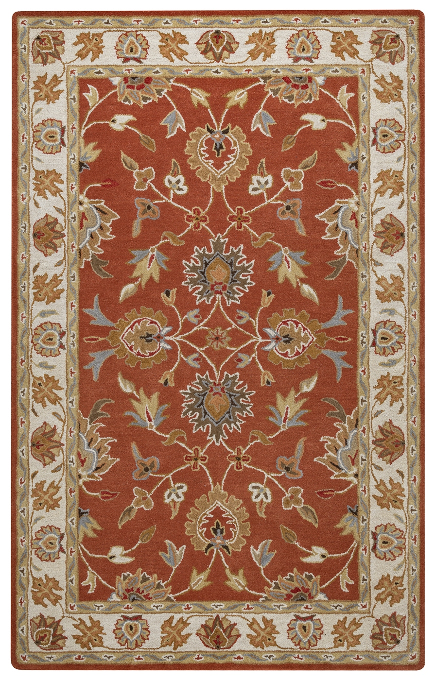 Valintino Floral Vine Border Wool Area Rug In Rust Blue