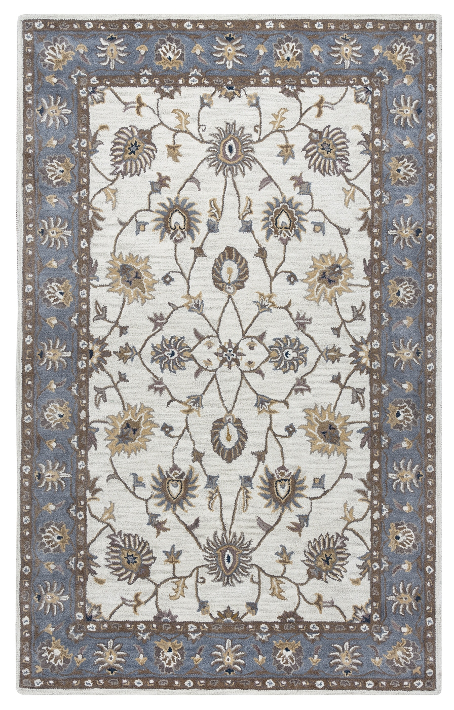 Valintino Floral Vine Border Wool Area Rug In Taupe Blue