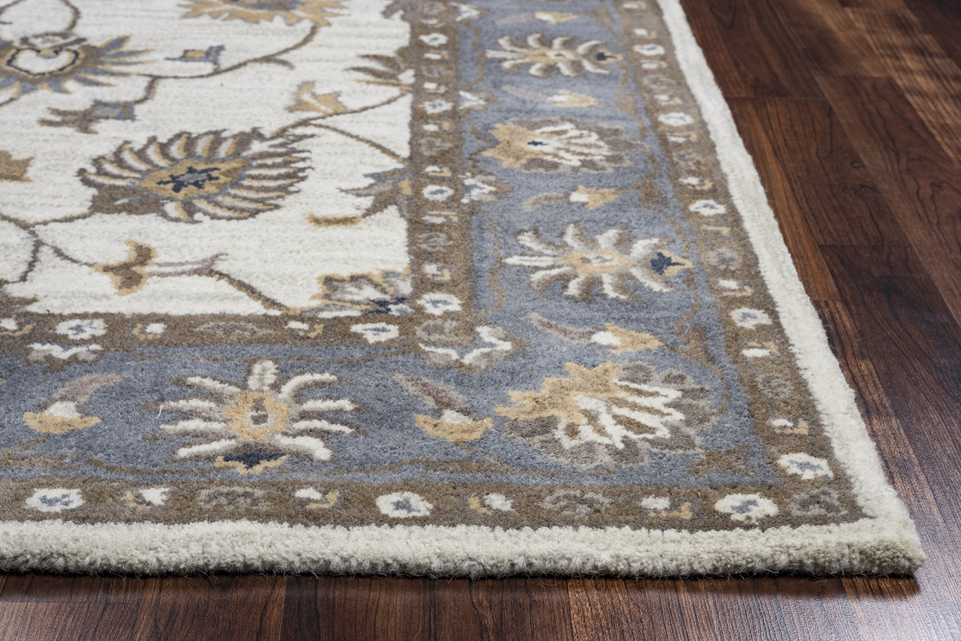 Grey Tan And Brown Area Rug: Valintino Floral Vine Border Wool Runner Rug In Taupe Blue