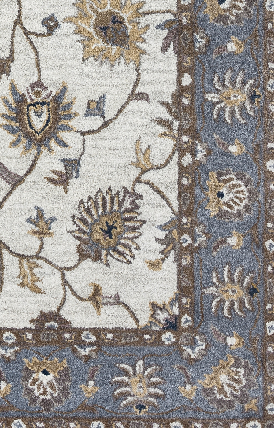 valintino floral vine border wool runner rug in taupe blue brown 2 39 6 x 8 39. Black Bedroom Furniture Sets. Home Design Ideas