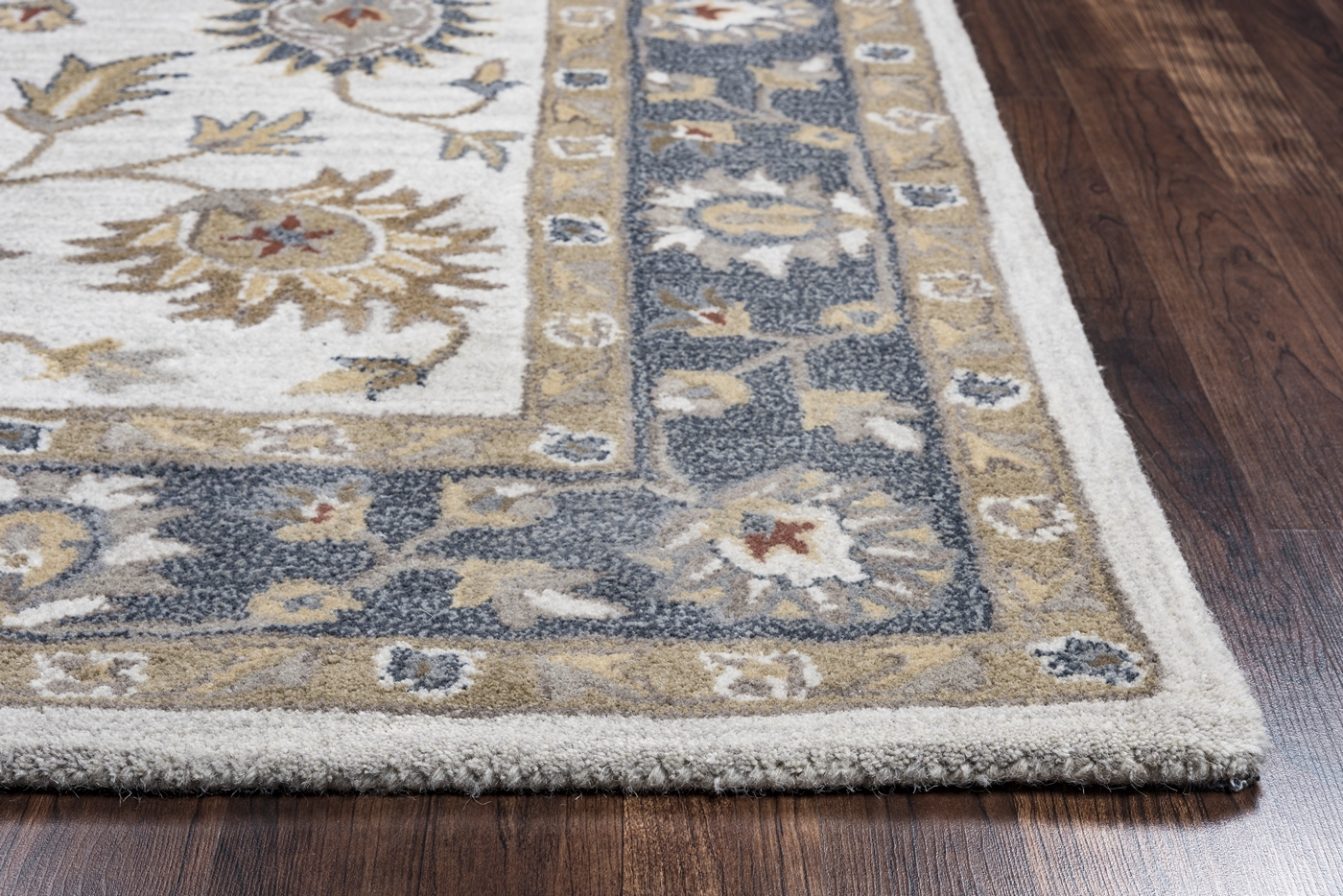 Valintino Floral Vine Border Wool Runner Rug In Taupe Blue