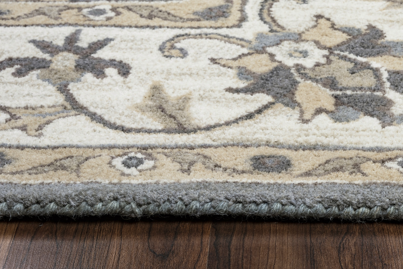Valintino Floral Vine Border Wool Round Rug In Gray Tan