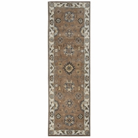 """Valintino Soft Wool Rectangle Runner Area Rug 2'6""""x 8' Brown Blue Tan Taupe Navy"""