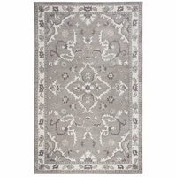"""Valintino Soft Wool Runner Area Rug 2'6""""x 8' Grey White Brown Taupe Ornamental"""