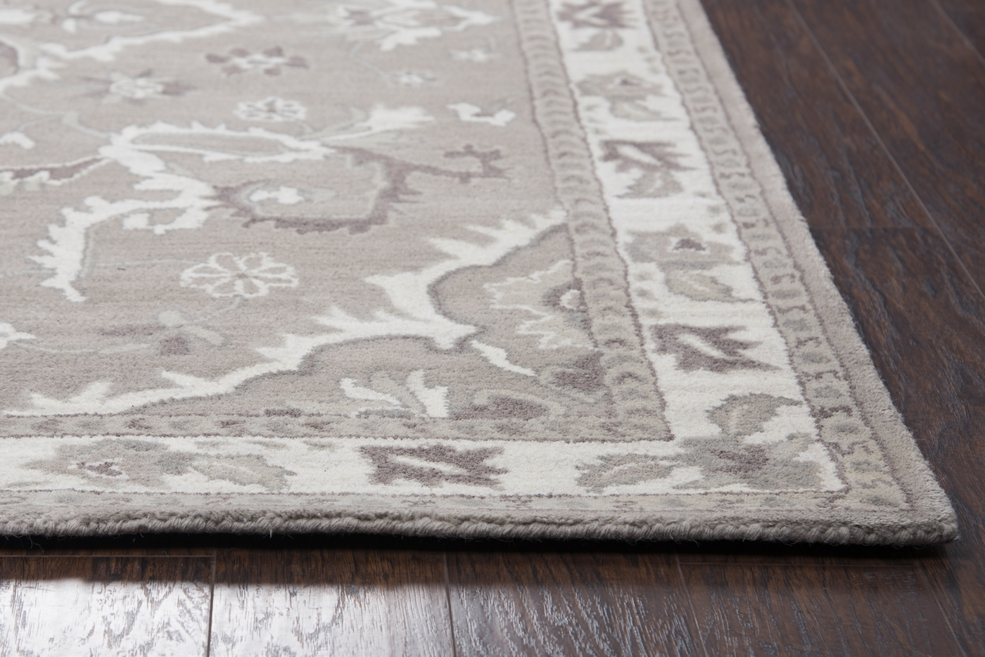 Valintino Ornamental Foliage Wool Area Rug In Gray Brown