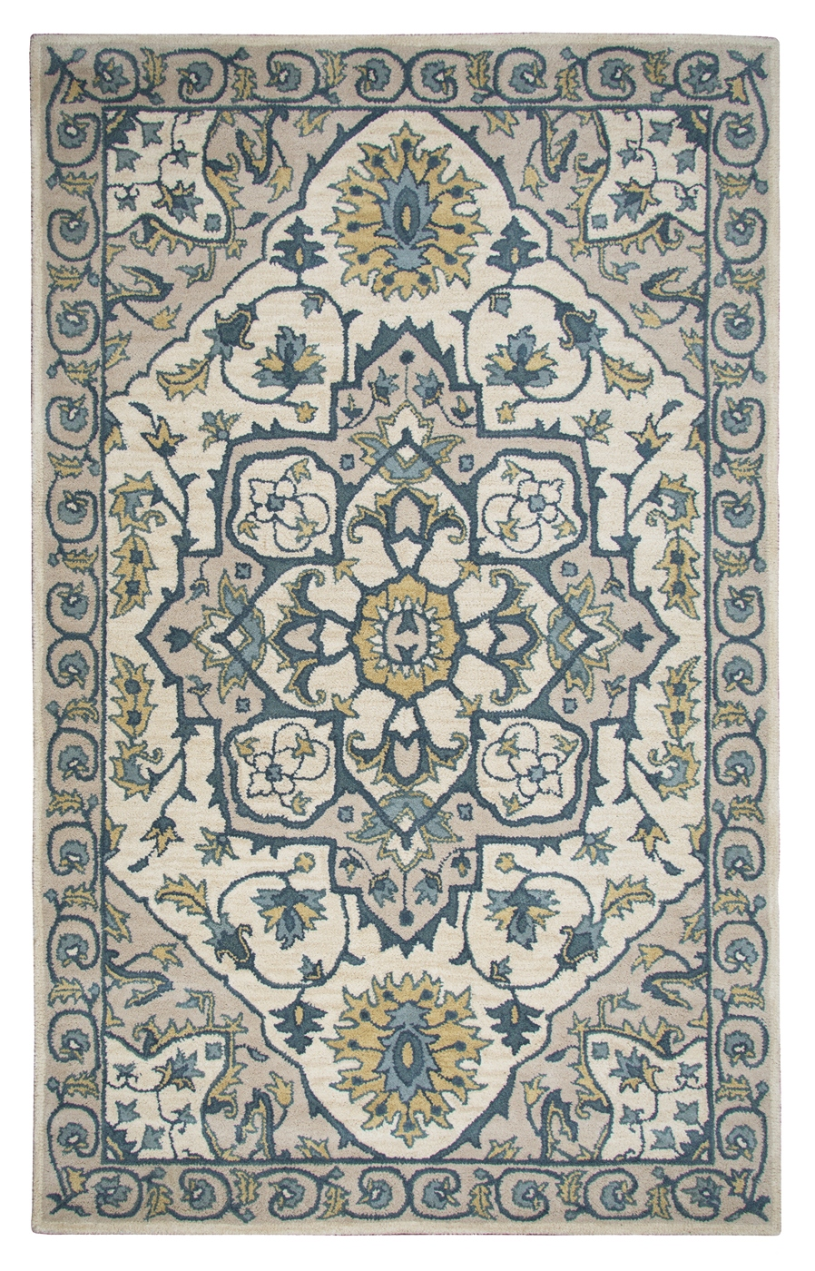 Valintino Ornamental Foliage Wool Area Rug In Ivory Yellow