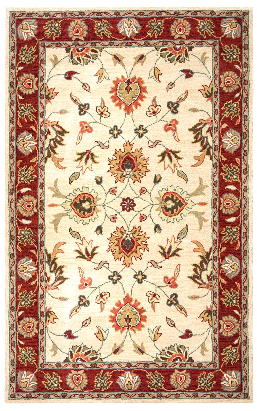 Valintino ornate floral border wool area rug in beige red for Red and navy rug
