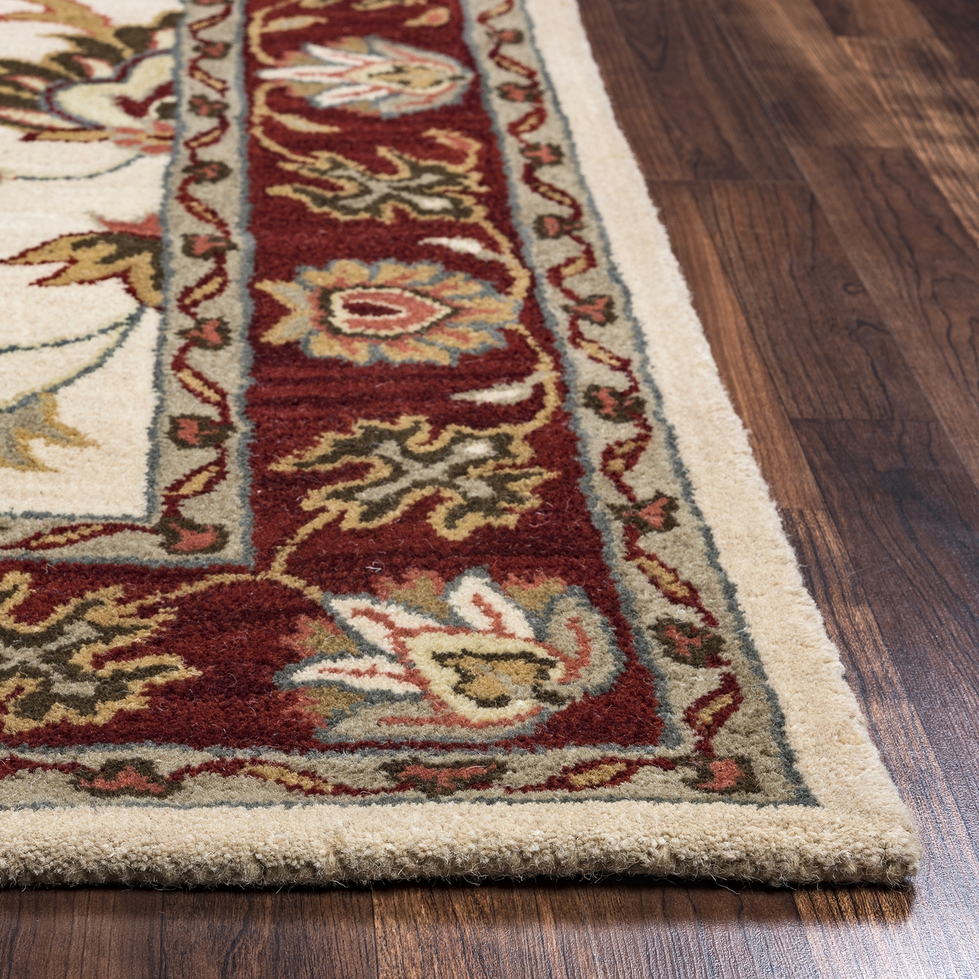 Valintino Ornate Floral Border Wool Area Rug In Beige Red