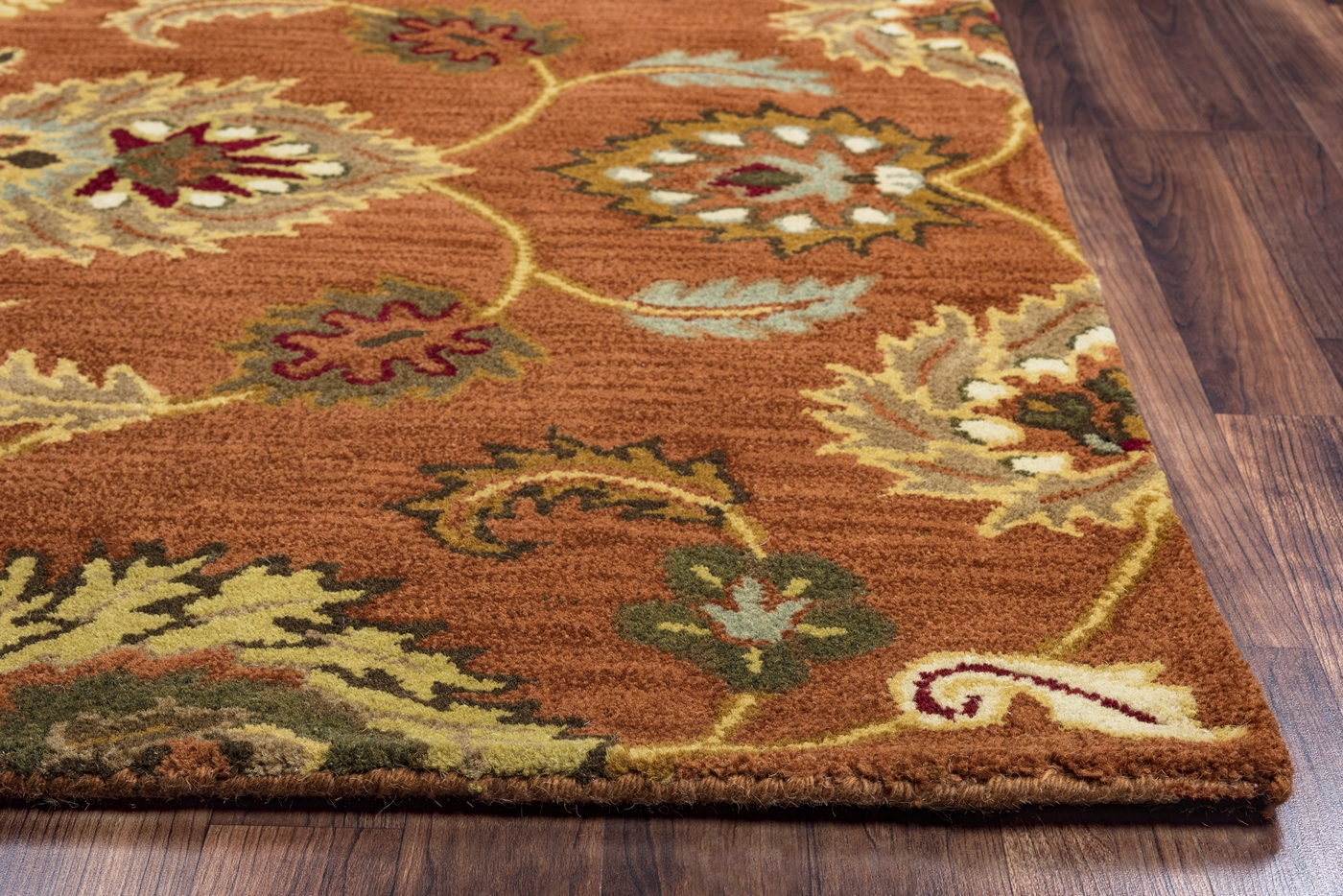 Valintino Ornate Mums Wool Area Rug In Rust Brown Burgundy
