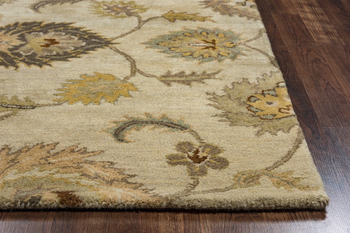 Valintino Ornate Mums Wool Area Rug In Tan Sage Brown Gray
