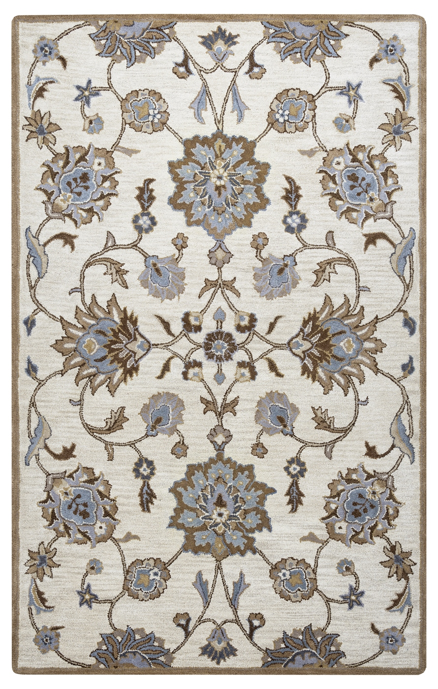 Valintino Ornate Vine Mums Wool Area Rug In Taupe Blue