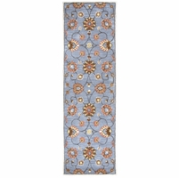 """Home Valintino Soft Wool Runner Area Rug 2'6""""x 8'Blue Brown Tan Rust Copper Grey"""