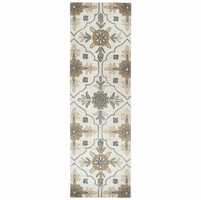 """Valintino Soft Wool Runner Area Rug 2'6""""x 8'Taupe Beige Blue Brown Navy Ornament"""