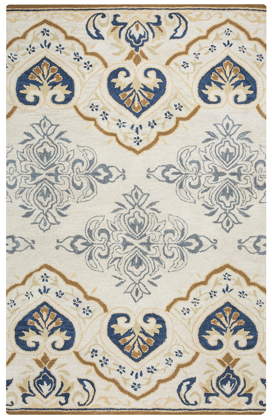 Valintino Spades Medallion Wool Area Rug In Gray Navy
