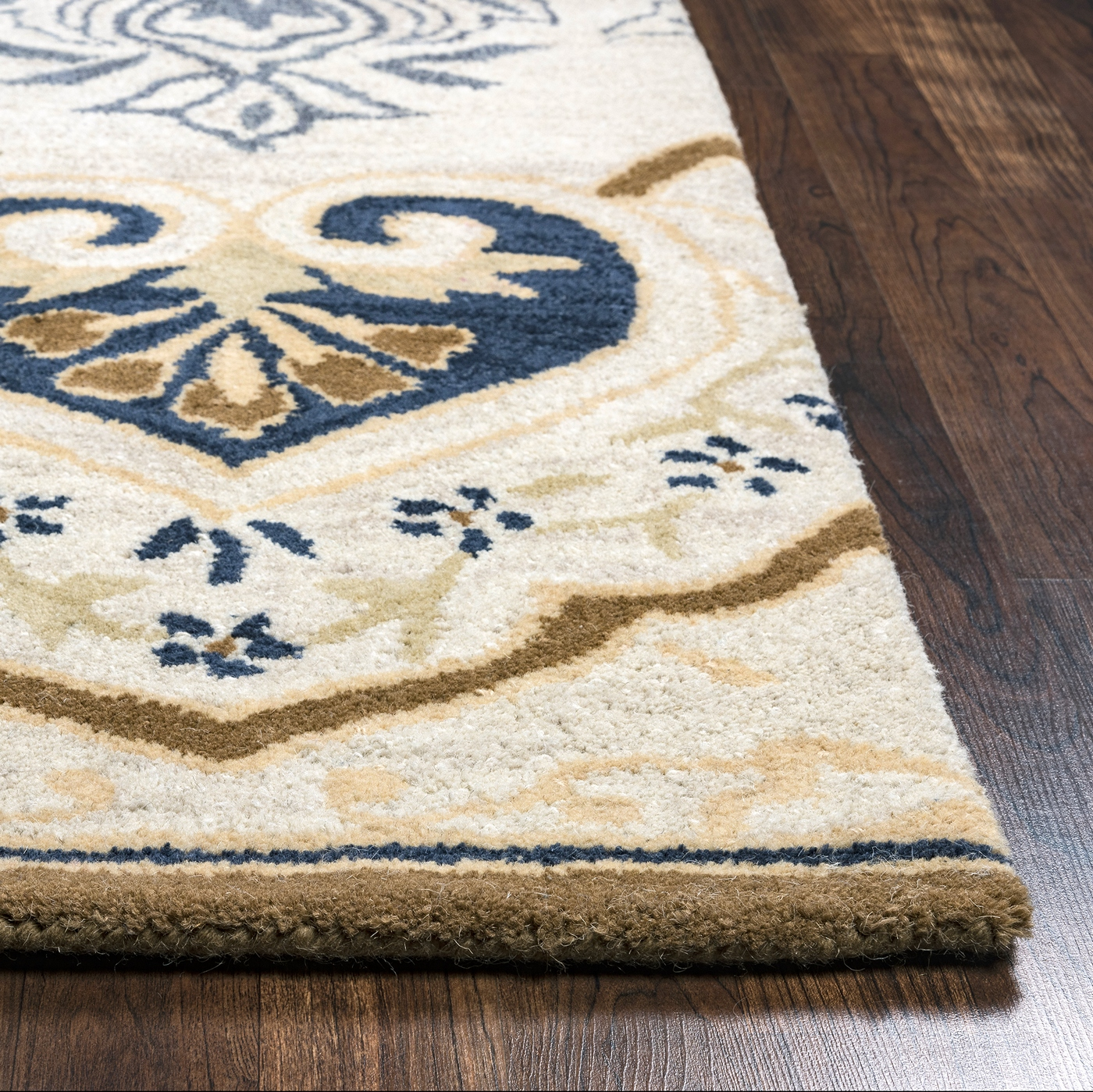 Valintino Spades Medallion Wool Runner Rug In Gray Navy