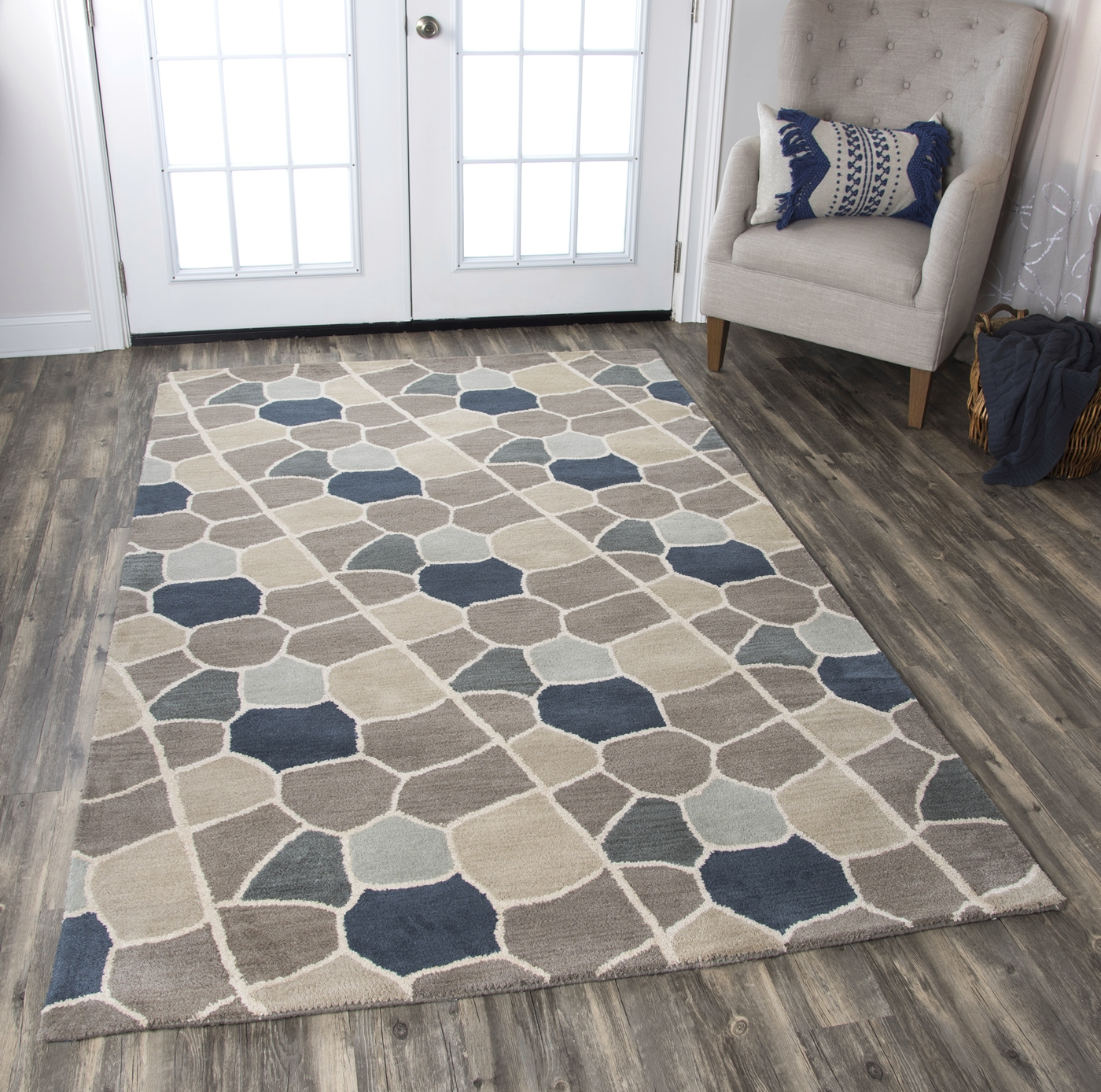 Valintino Striped Mosaic Wool Area Rug In Gray Blue Navy