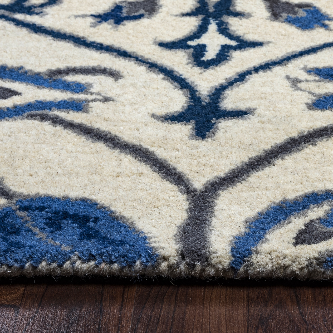 Valintino Vine Medallion Wool Area Rug In Ivory Blue Gray
