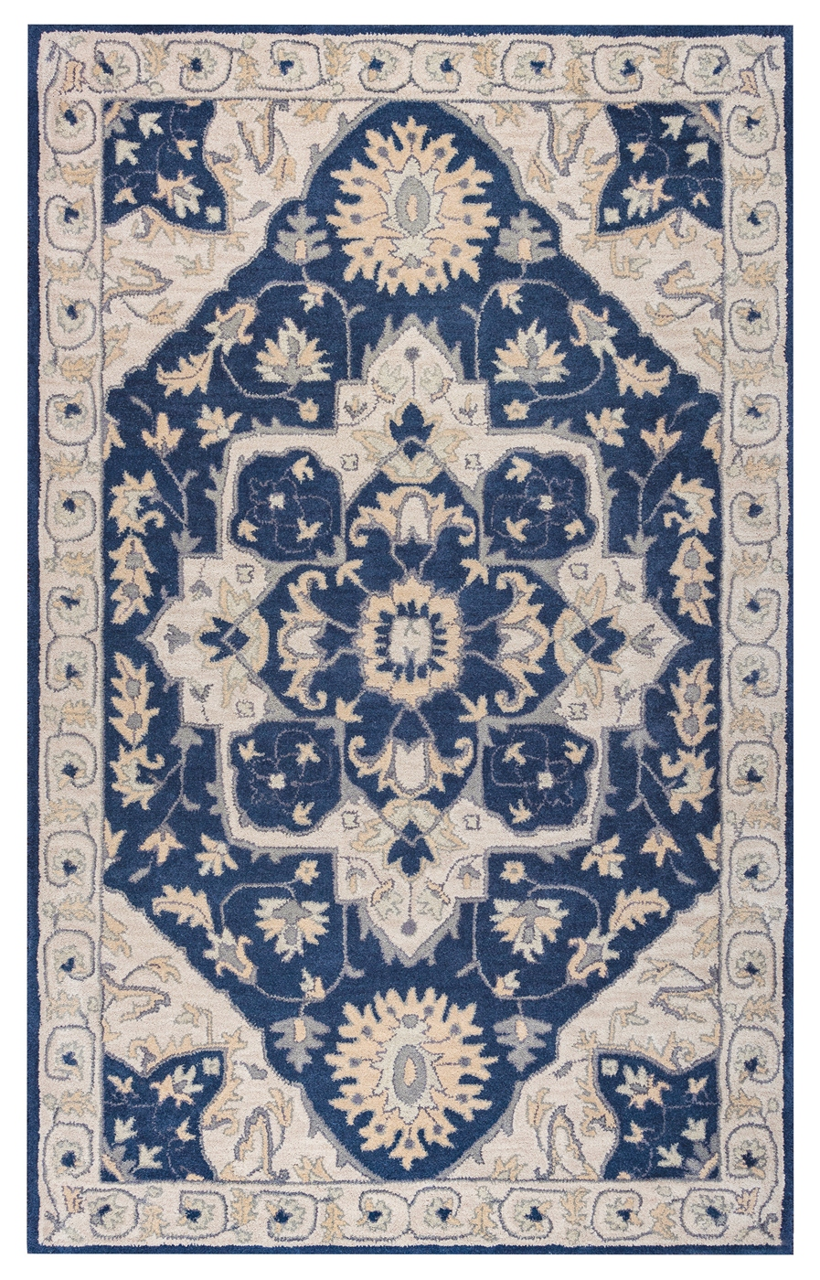 Valintino Vine Medallion Wool Area Rug In Blue Gray