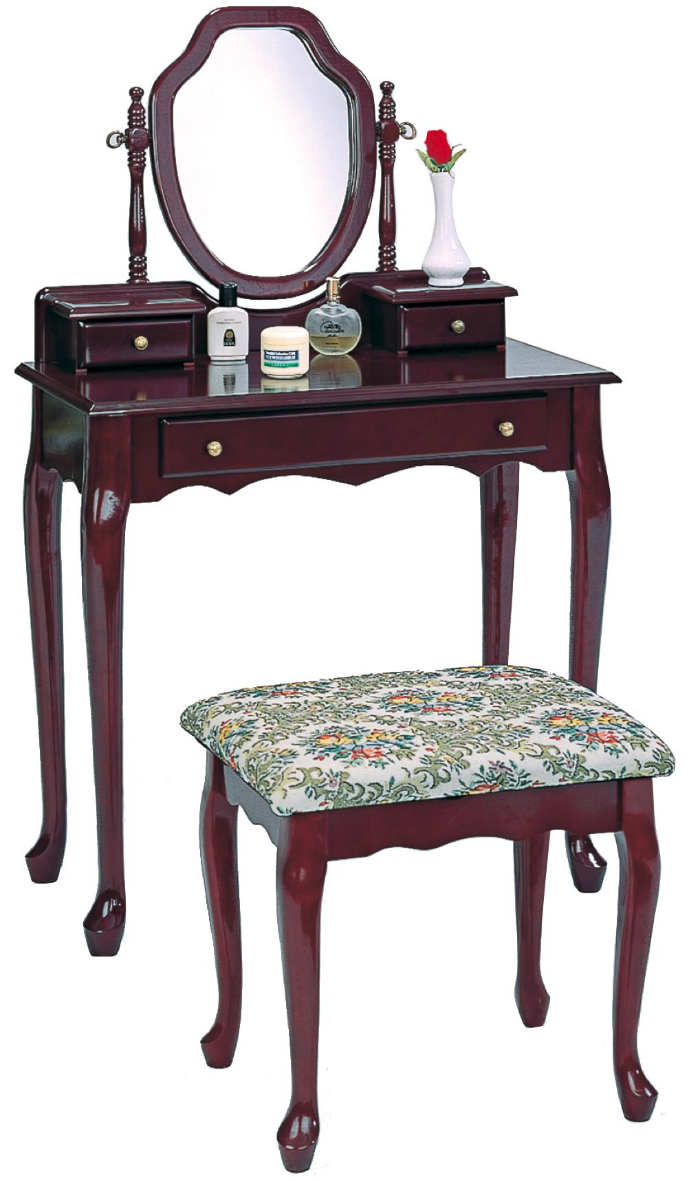 Vanity bench set dark wooden dressing table stool 3441 coaster for Vanity table set