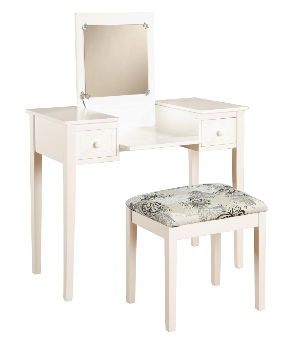 White Finish Vanity Set With Butterfly Print Seat