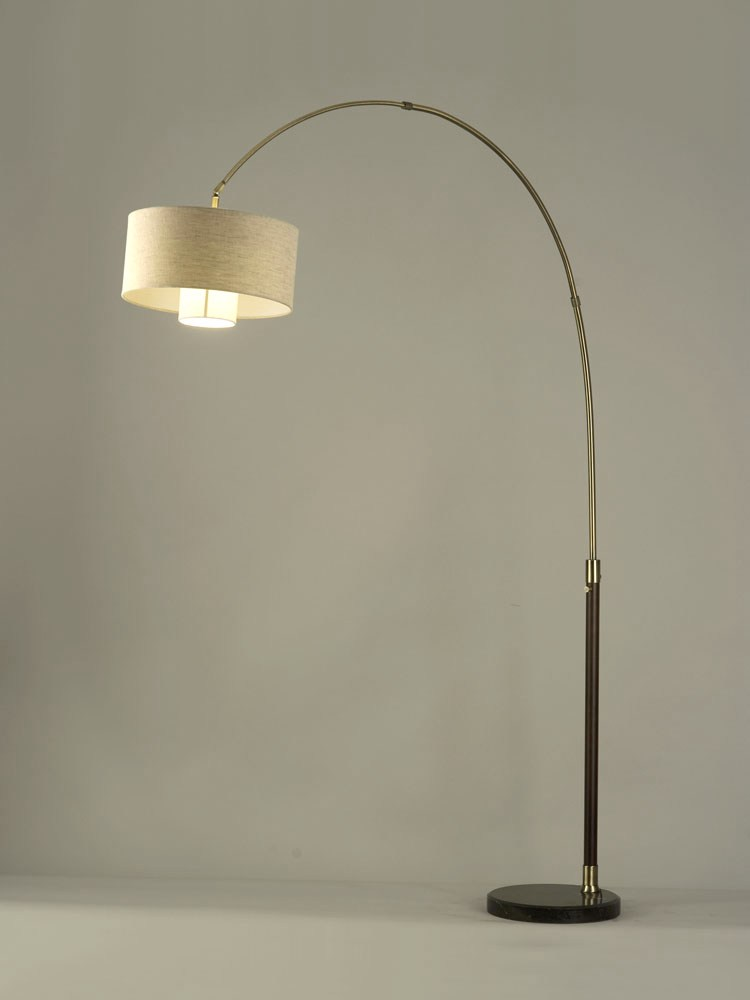 Veld Weathered Brass Contemporary Arc Floor Lamp 2110178