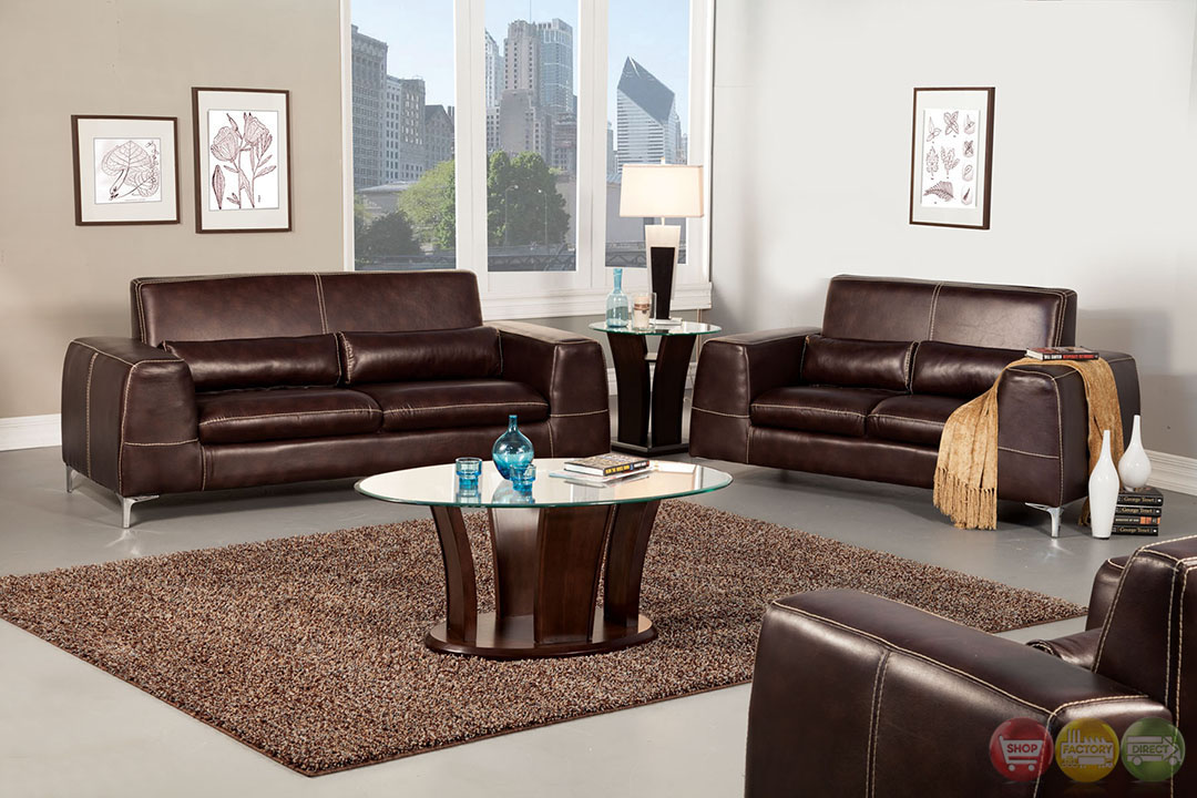Velia Contemporary Espresso Living Room Set With Pillows Sm6051
