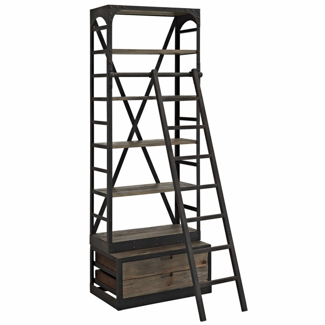 Velocity Industrial Wooden Bookcase With Cast Iron Frame & Ladder, Brown