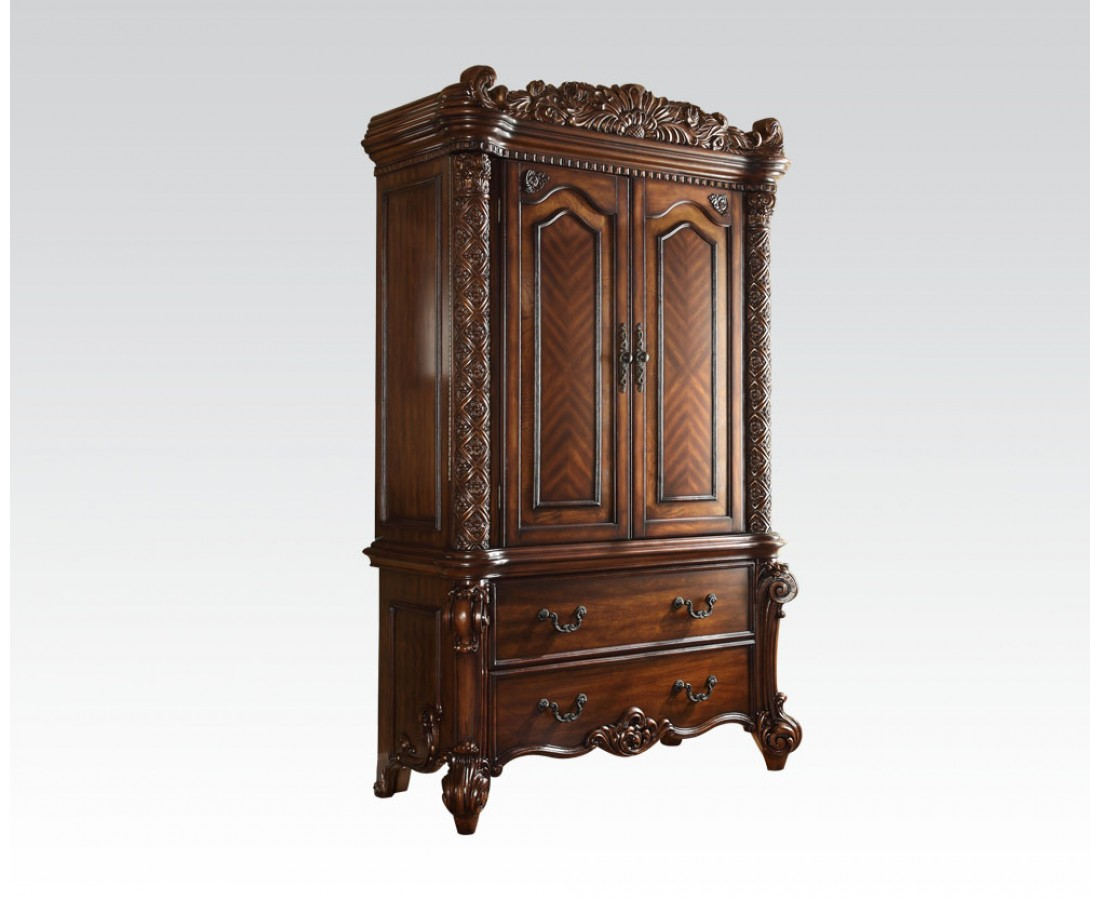 Vendome 2 drawer tv armoire in ornate traditional cherry for Armoire television salon