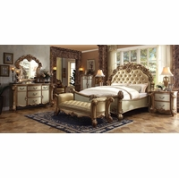 Vendome 4pc Button Tufted California King Bedroom Set in Gold Patina