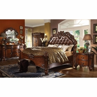 Elegant Vendome 4pc Upholstered Brown Victorian King Bedroom Set In Cherry