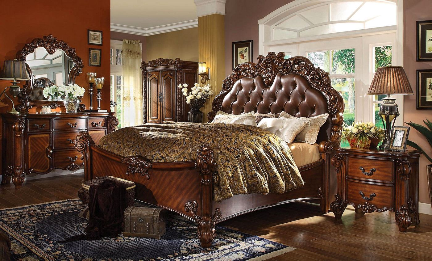 Vendome 4pc Upholstered Brown Victorian Queen Bedroom Set