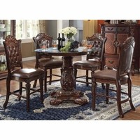 "Vendome 5pc Formal 48"" Round Counter Height Dining Table Set In Cherry"