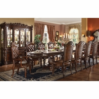 "Vendome 5pc Formal Double Pedestal 136"" Dining Table Set In Cherry"