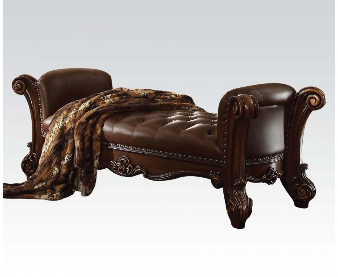 Vendome Button Tufted Faux Leather Bench In Brown With