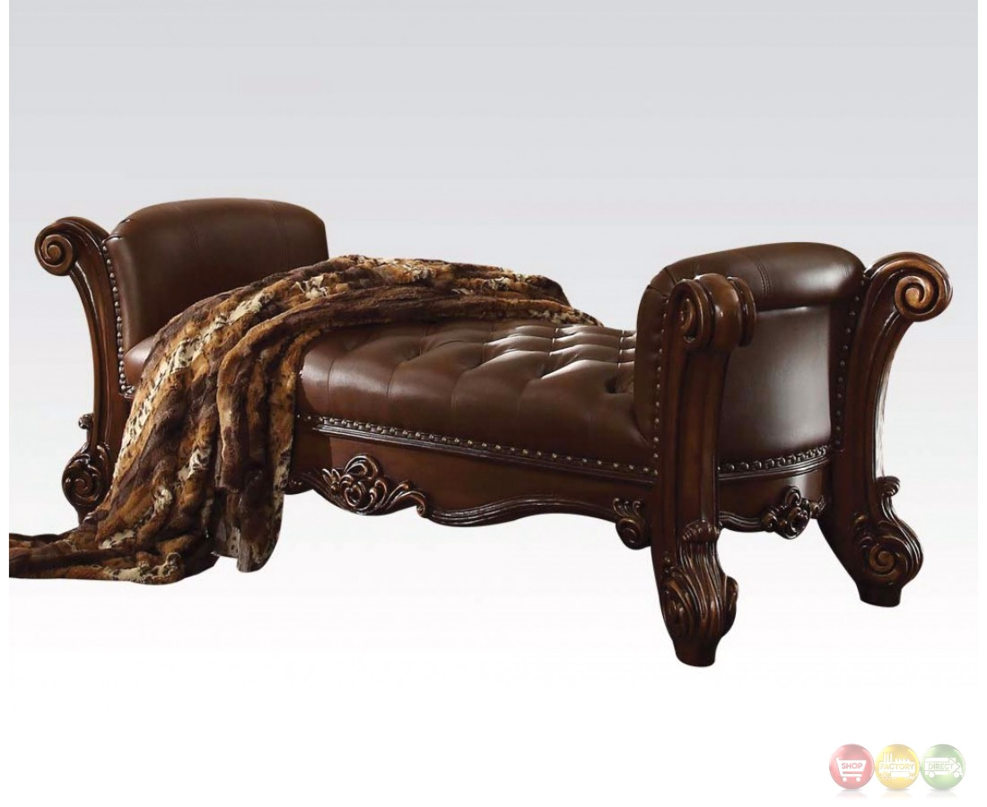 Vendome Button Tufted Faux Leather Bench In Brown With Carved Wood