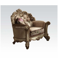 Vendome Crystal Tufted Bone Fabric Chair In Victorian Gold Patina