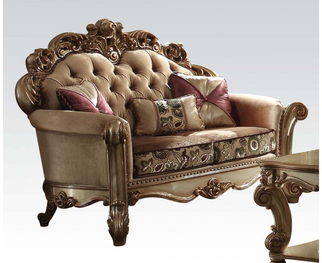 Vendome Crystal Tufted Bone Fabric Loveseat In Victorian