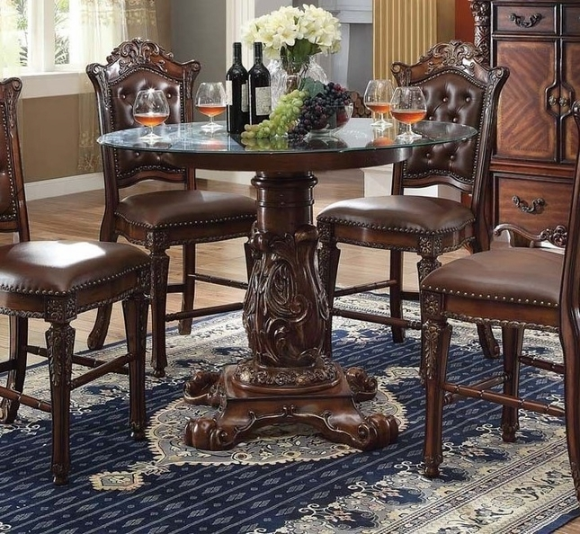 """Vendome Formal 48"""" Round Counter Height Dining Table In Brown Cherry"""