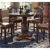 "Vendome Formal 48"" Round Counter Height Dining Table In Brown Cherry"