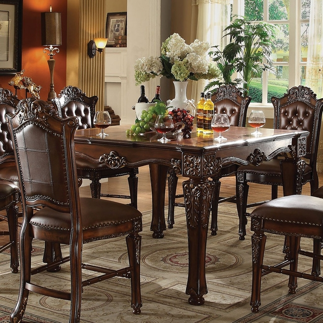 Vendome Formal Square Counter Height Dining Table In Brown Cherry - Square formal dining table