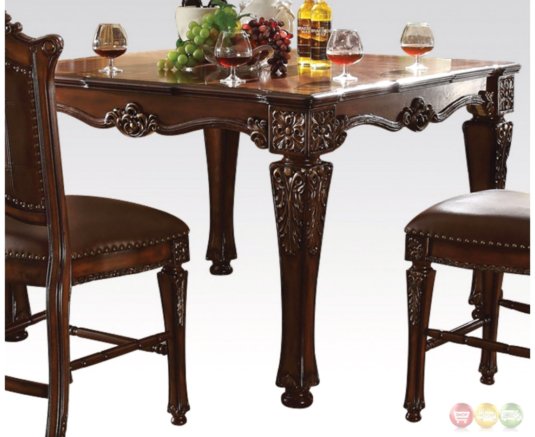 vendome formal 54 square counter height dining table in brown cherry. Black Bedroom Furniture Sets. Home Design Ideas