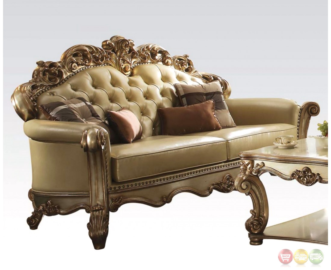 Vendome Formal Crystal Tufted Sofa Loveseat Set In Gold Patina Leather