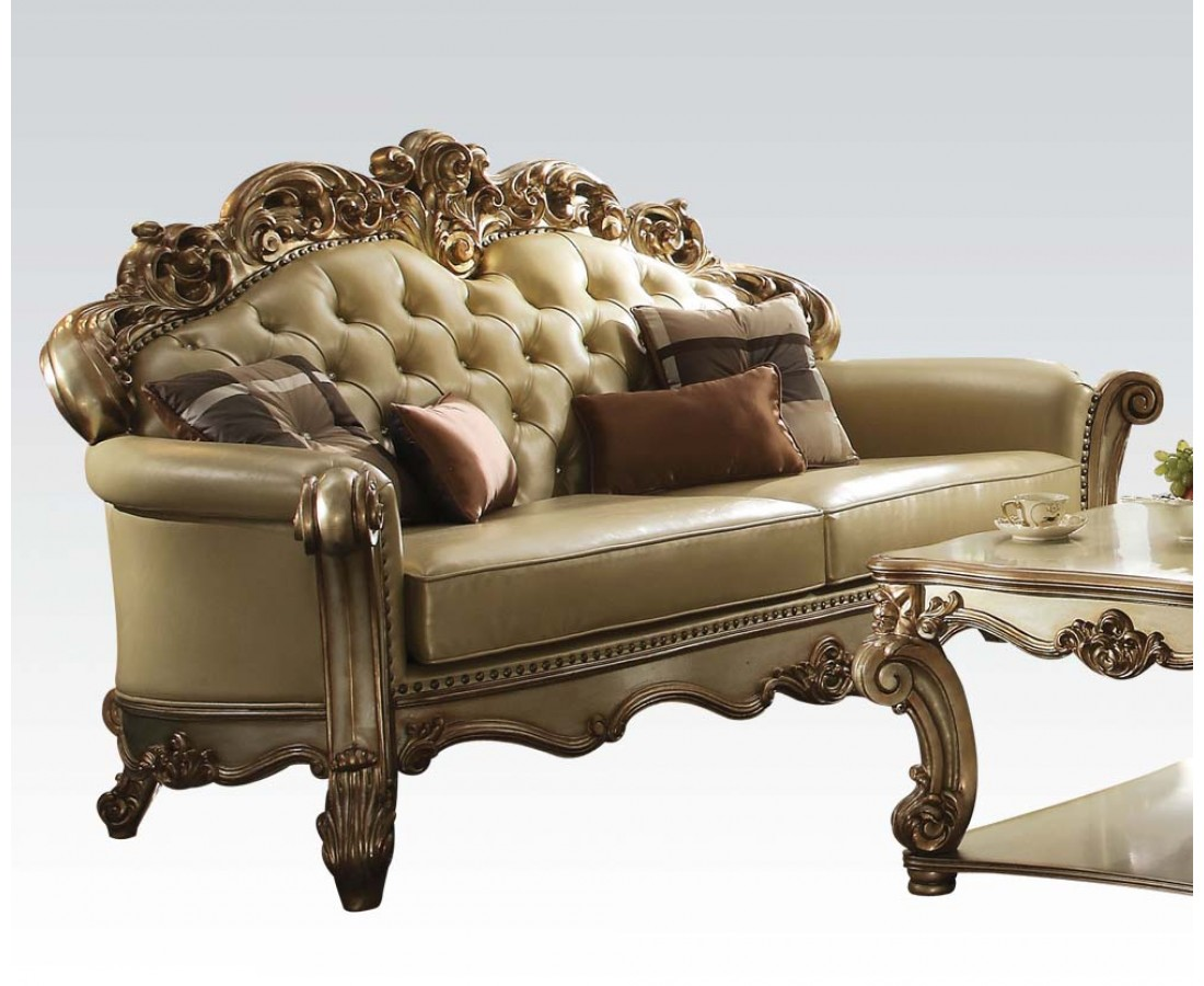 Vendome formal crystal tufted sofa loveseat set in gold for Tufted couch set