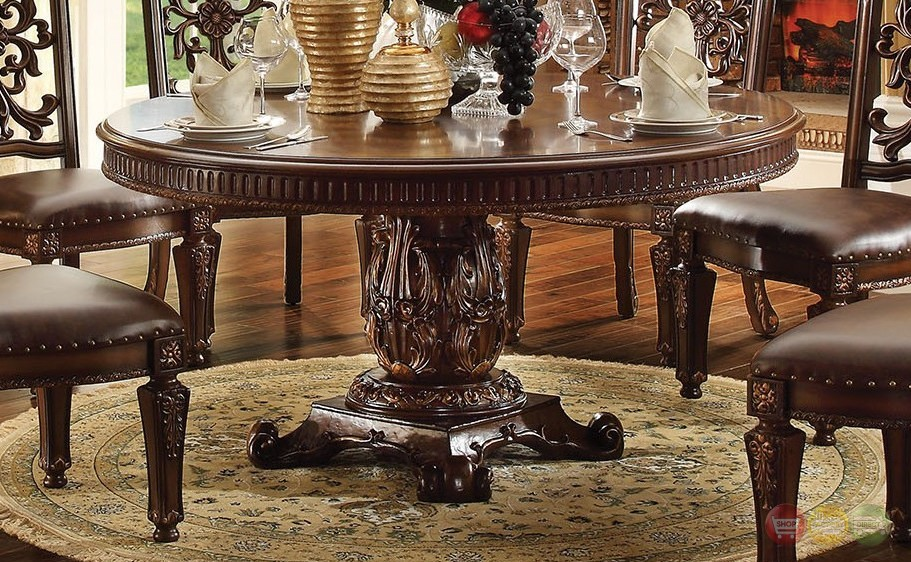 Vendome formal ornate 60 wood top round dining table in for Formal wood dining table