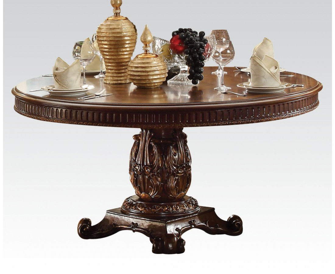 "Wood Round Dining Table: Vendome Formal Ornate 60"" Wood Top Round Dining Table In"