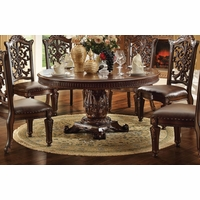 "Vendome Formal Ornate 72"" Wood Top Round Dining Table In Brown Cherry"