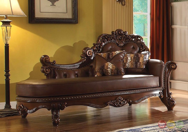 Vendome Formal Ornate Faux Leather Button Tufted Chaise In