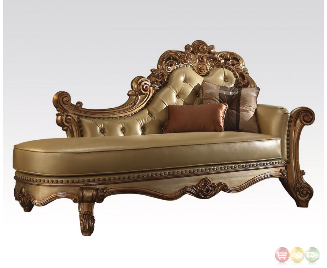Vendome formal ornate faux leather button tufted chaise in for Button tufted chaise settee