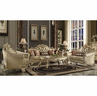 Vendome II Formal Crystal Sofa & Loveseat Set In Gold Patina Faux Leather