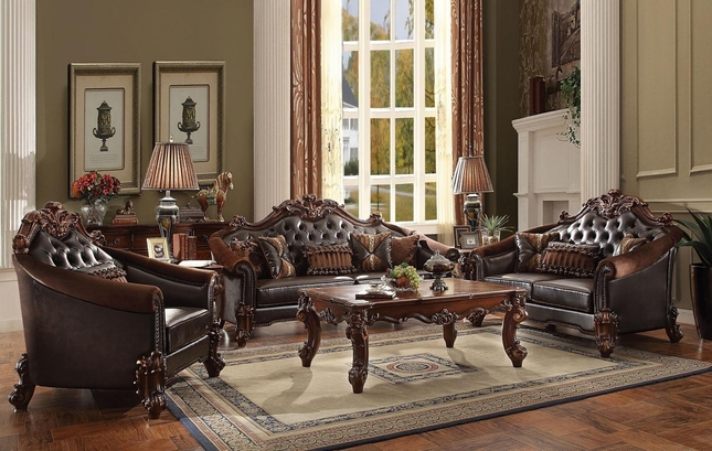 Vendome II Formal Tufted Sofa U0026 Loveseat Set In Brown Cherry Faux Leather